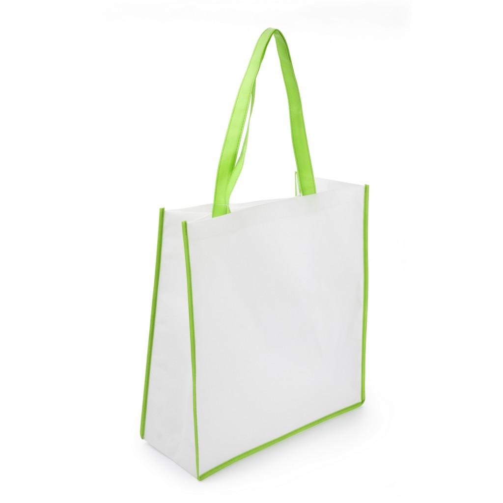 Torba na zakupy z kolorowymi elementami i długimi uchwytami zielona 2