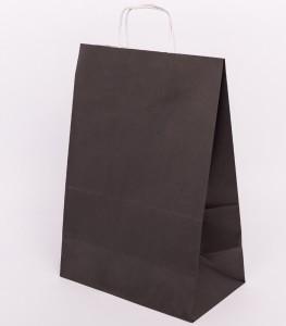 Torba papierowa czarna z uchem skrecanym