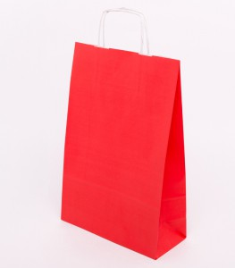 Torba papierowa czerwona z uchem skrecanym