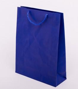 Torba papierowa niebieska z uchem sznurkowym