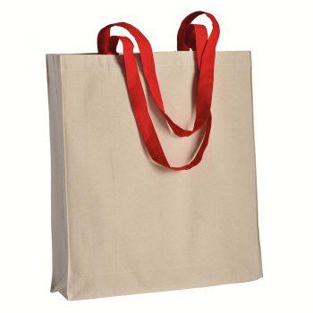 Duza gruba torba bawelniana z kolorowymi uszami czerwona