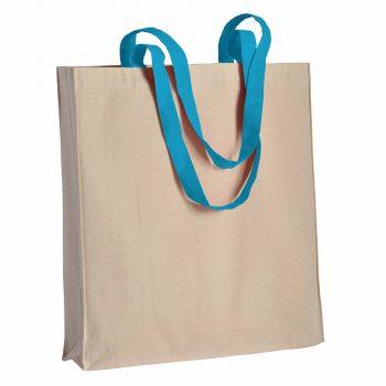 Duza gruba torba bawelniana z kolorowymi uszami niebieska