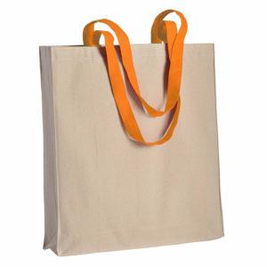 Duza gruba torba bawelniana z kolorowymi uszami pomaranczowa