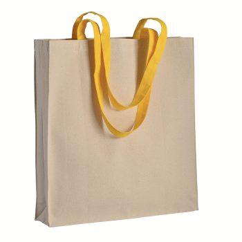 Duza gruba torba bawelniana z kolorowymi uszami zolta