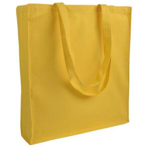 Gruba torba bawełniana z dnem i bokami żółta