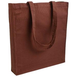 Gruba torba bawełniana z dnem i bokami brązowa