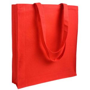 Gruba torba bawełniana z dnem i bokami czerwona