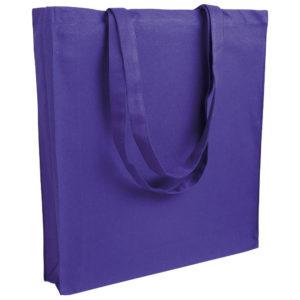 Gruba torba bawełniana z dnem i bokami fioletowa