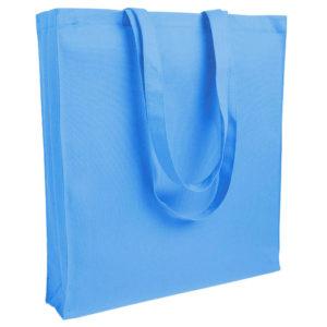 Gruba torba bawełniana z dnem i bokami jasnoniebieska