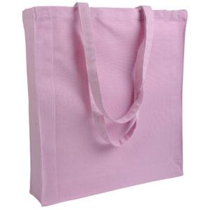 Gruba torba bawełniana z dnem i bokami jasnoróżowa