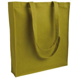 Gruba torba bawełniana z dnem i bokami musztardowa
