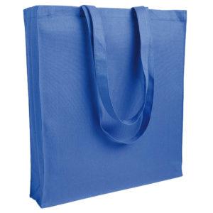 Gruba torba bawełniana z dnem i bokami niebieska