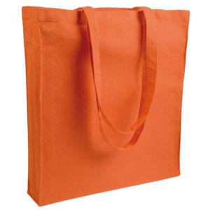 Gruba torba bawełniana z dnem i bokami pomarańczowa