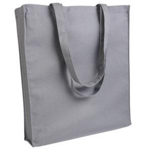Gruba torba bawełniana z dnem i bokami szara