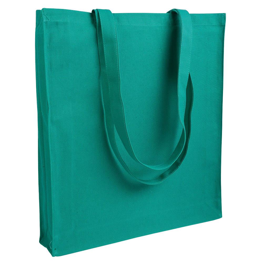 Gruba torba bawełniana z dnem i bokami zielona