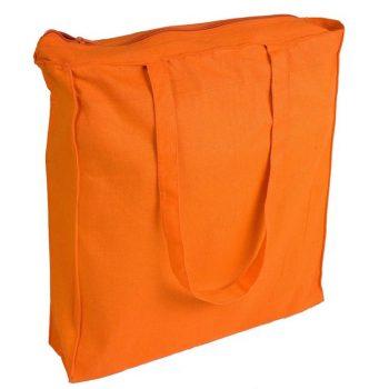 Duża torba bawełnina Promo B23 z zamkiem pomarańczowa