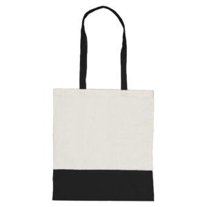 Dwukolorowa torba bawełniana czarna