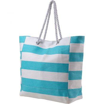 Bawełniana torba plażowa w stylu marynarskim błękitna