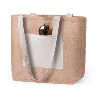 Jutowa torba plażowa z kieszonką